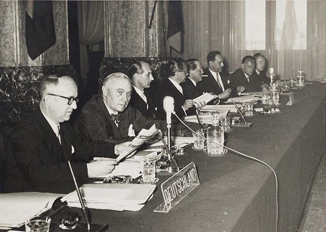 Walter Hallstein during the works of the Messina Conference