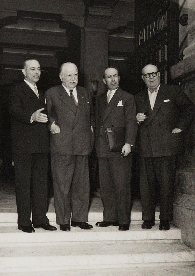 Gaetano Martino, Joseph Bech, Antoine Pinay and Paul-Henri Spaak