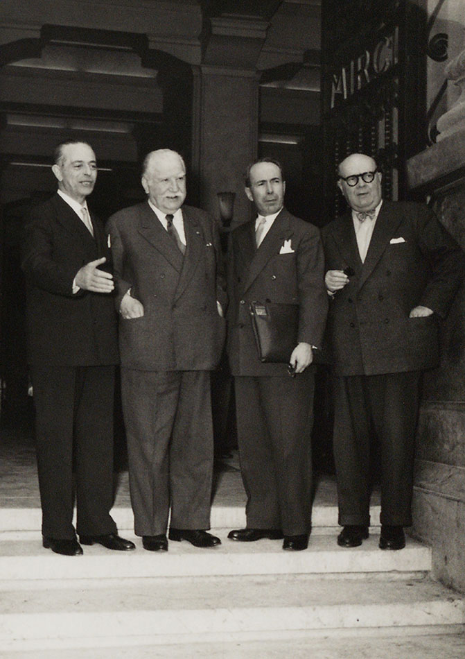 Gaetano Martino, Joseph Bech, Antoine Pinay and Paul-Henri Spaak