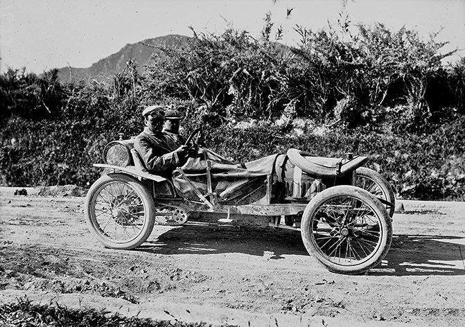 French tourists driving a car in Sicily