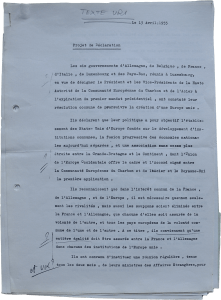 Text by Pierre Uri on the draft declaration of the Six